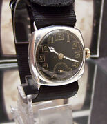 Antique Vintage 1917 Solid Silver Black Dial Oversize Ww1 Military Style Watch