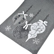 Embroidered Ornaments Christmas Table Runner Grey 14-inch X 90-inch