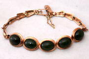 Vintage Chinese 10k Solid Rose Gold And Untreated Spinach Jade Bracelet