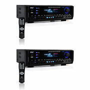 Pyle Digital Home Theater Bluetooth 4 Channel Radio Aux Stereo Receiver 2 Pack