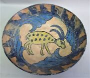 Fine 18th C. Persian Art Pottery Bowl With Yellow Antelope Middle East +