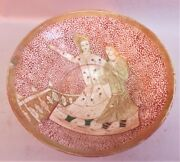 Fine Mid-18th C. Persian Islamic Art Pottery Bowl W/ Two Figures Middle East+