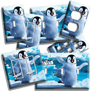 Happy Cute Baby Big Feet Arctic Penguin Lightswitch Wall Plate Outlet Room Decor