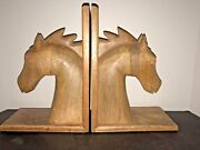 Mid Century Hand Carved Solid Wood Pair Of Horse Horse Head Bookends 12andrdquo Tall