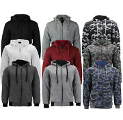 Menand039s Athletic Warm Soft Sherpa Lined Fleece Zip Up Sweater Jacket Hoodie