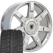 22x9 Wheels And Tires Fit Chevy Gm Escalade Style Chrome Rims W/ironman 5309 Oew