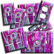 Rustic Purple Paint Cracked Worn Out Wood Light Switch Outlet Wall Plates Decor