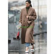 Women 100 Cashmere Long Trench Coat Double-breasted Thicken Overcoat Jacket Dd