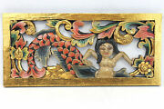 Balinese Mermaid Panel Wall Art Sculpture Hand Carved Wood Painted Architectural