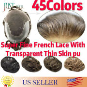 French Lace Men Toupee Hand-tie Wig Human Hair Front Bleached Knots Hairpiece Q6