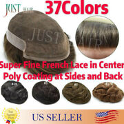 French Lace Front Mens Toupee Poly Coating Hairpiece Bleached Human Hair Systems