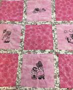 Handmade Quilt Red Work Machine Embroidery Pink Black Lady Bugs Flowers
