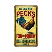 Past Time Signs Pts196 Rooster Feed Home And Garden Vintage Metal Sign