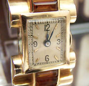 40and039s Art Deco Antique Vintage Solid 18k Gold Citrine Watch Serviced Swiss Mvt
