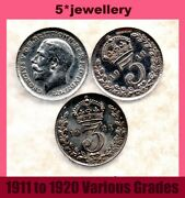 Real Silver 3d Three Pence Coins George 5th Threepence 1911- 1922 Grade G To Unc