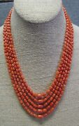 Vintage Genuine Real Undyed Red Coral Necklace 18 Spaced By Knots Ster. Silver