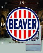 19 X 19 Beaver Oil Company Gas Vinyl Decal Lubester Oil Pump Can Lubster
