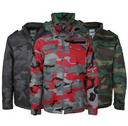 Combat Menand039s Heavyweight Tactical Quilted Camo Hunting Jacket With Stowable Hood