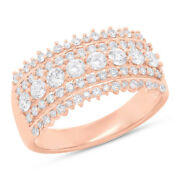Womens 14k Rose Gold Natural Round Cut Diamond Band Wide Ring Cocktail 1.00ct