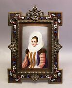 Superb And Large French Bronze Champleve Frame W/ Enamel Painting C. 1890 Antique