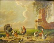 Antique 19th C. Dutch Oil Painting Group Of Fowl Style Of Albertus Verhoesen