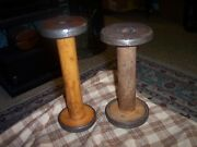 Antique Wood Industrial Textile Sewing Spool Lot Of 2 Steampunk Collectors 8-9