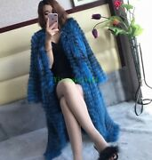 Womens 100 Knitted Real Fox Fur Coats Long Parka Jacket Thick Warm Overcoat