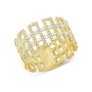 Baguette Diamond Open Square Shape Ring 14k Yellow Gold Natural Round Cut 0.55ct