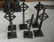 Lot Of 6 Pre-war Lionel O Scale Rusted Burnt Railroad Crossing Signs 7 Tall