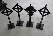 Lot Of 4 Pre-war Lionel O Scale Rusted Burnt 68 69 Railroad Crossing Signs 8 1/2