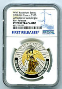 2018 20 Canada Gilt Silver Ngc Pf70 Armistice Of Compienge Proof First Releases
