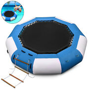 13ft Inflatable Water Trampoline Jump Floated Water Bounce Platform W/ Ladder
