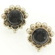 Vintage Mexican 925 Sterling Silver Black Onyx Cab 1950s Screw Post Earrings