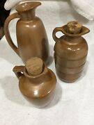 ✨reduced✨ 3-vtg Frankoma Pottery Numbered Brown Pitcher Jugs With Corks