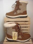 Nwob Bearpaw Bethany Tan Leather And Nylon, Wool Sherpa Lined Boots Sz 8m 130