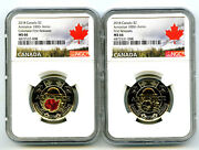 2018 Canada 2 Wwi Armistice Poppy Ngc Ms66 Toonie 2-coin Set Matching Cert