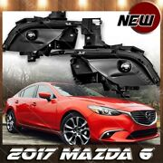 For 2017 Mazda 6 Fog Light Lamp Clear Lens Chrome Housing Replacement Wiring Inc