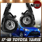 For 17-18 Toyota Yaris Fog Light Lamp 4 Dr Clear Lens Chrome Housing Replacement