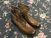 Andrew Marc Military Combat Boots Sz 13 Menandrsquos Brown Burgundy Green Leather