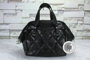 Used Shopping Black Leather Tote Bag Shw Authentic