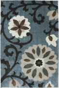 Mohawk Blue Contemporary Stems Branches Blossoms Area Rug Floral 90309 880