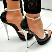 Womenand039s Peep Toe Platform Sandals Bow Ankle Strap High Heel Shoes Party Stiletto