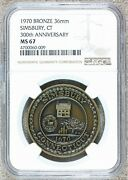 1970 Simsbury Ct Connecticut 300th Anniversary Bronze Town Medal - Ngc Ms 67