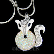 Arctic White Snow Fox Made With Crystal Nature Animal Necklace Jewelry