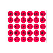 Size 12.5 Sticker Retail Store Clothing Dress Apparel Labels 0.75 Round, 4pk