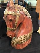 Handmade Wood And Metal Horse Bust Statue