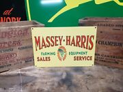 Massey Harris Sales Service Sign Seed Feed Barn Farm Tractor Gas Oil Vintage