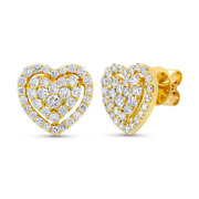 1.25ct 14k Yellow Gold Natural Round Diamond Cluster Heart Halo Stud Earrings