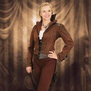 Windlass Steampunk Airship Tailcoat - M - Woman's - Brown - Gear Accents