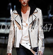 Philip Plein White Full Silver Studded Embroidery Patches Biker Leather Jacket